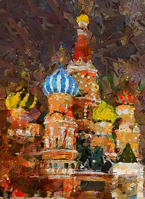 Saint Basil At Night Poster by Yury Malkov