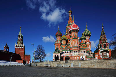 Saint Basils Cathedral On The Red Square Poster by Alex Sukonkin