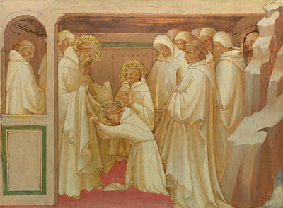 Saint Benedict Admitting Saints Into The Order Poster by Lorenzo Monaco