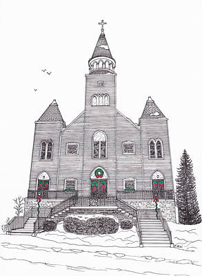 Saint Bridget's Church At Christmas Poster
