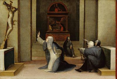 Saint Catherine Of Siena Receiving The Stigmata Domenico Poster by Litz Collection