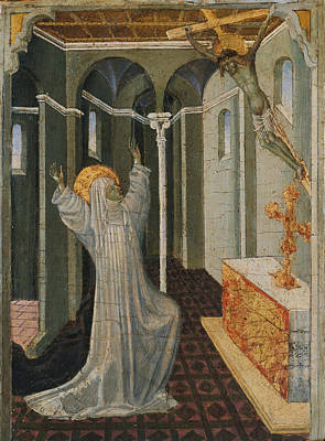 Saint Catherine Of Siena Receiving The Stigmata Poster by Giovanni di Paolo