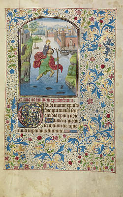 Saint Christopher Carrying The Christ Child Willem Vrelant Poster by Litz Collection