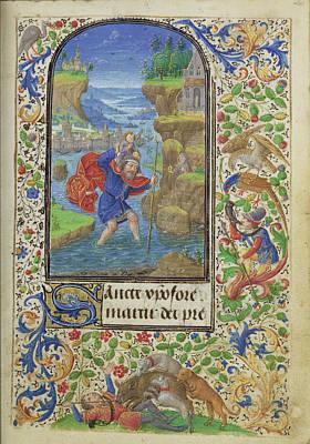 Saint Christopher Lieven Van Lathem, Flemish, About 1430 - Poster
