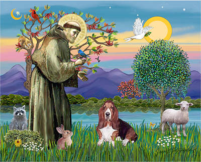 Poster featuring the photograph Saint Francis Blesses A Basset Hound by Jean Fitzgerald