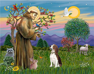Poster featuring the digital art Saint Francis Blesses A Beagle by Jean B Fitzgerald