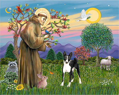 Poster featuring the digital art Saint Francis Blesses A Black And White Basenji by Jean Fitzgerald