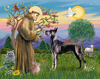 Poster featuring the digital art Saint Francis Blesses A Black Great Dane by Jean Fitzgerald