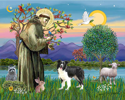 Poster featuring the digital art Saint Francis Blesses A Border Collie by Jean Fitzgerald