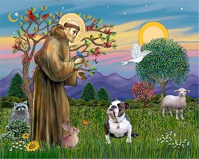 Poster featuring the digital art Saint Francis Blesses A Brown And White English Bulldog by Jean B Fitzgerald