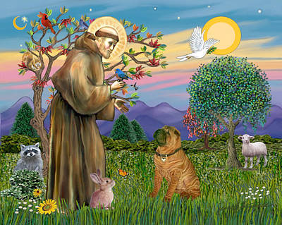 Poster featuring the digital art Saint Francis Blesses A Chinese Shar Pei by Jean Fitzgerald