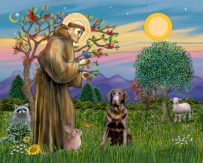 Poster featuring the digital art Saint Francis Blesses A Chocolate Labrador Retriever by Jean Fitzgerald