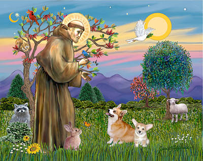 Poster featuring the digital art Saint Francis Blesses A Corgi And Her Pup by Jean Fitzgerald