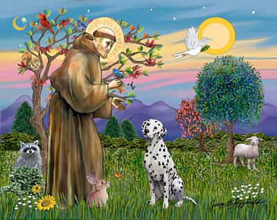 Poster featuring the digital art Saint Francis Blesses A Dalmatian by Jean Fitzgerald