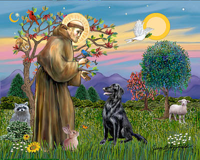 Poster featuring the digital art Saint Francis Blesses A Flat Coated Retriever by Jean B Fitzgerald