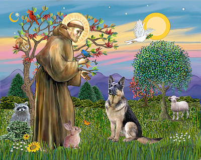 Poster featuring the digital art Saint Francis Blesses A German Shepherd by Jean Fitzgerald