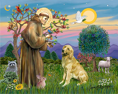 Poster featuring the digital art Saint Francis Blesses A Golden Retriever by Jean Fitzgerald