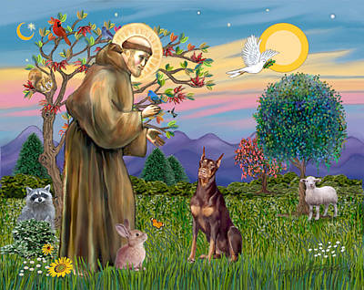 Poster featuring the digital art Saint Francis Blesses A Red Doberman by Jean Fitzgerald