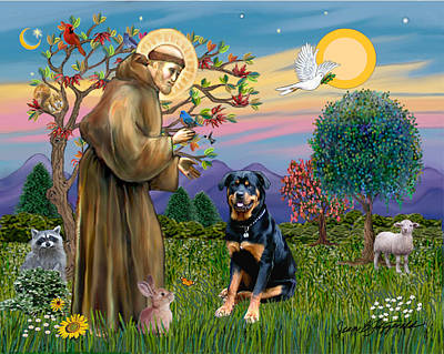 Poster featuring the digital art Saint Francis Blesses A Rottweiler by Jean Fitzgerald