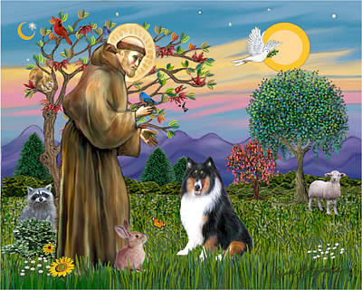 Poster featuring the digital art Saint Francis Blesses A Tri Color Collie by Jean B Fitzgerald