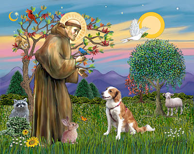 Poster featuring the digital art Saint Francis Blesses A Welsh Springer Spaniel by Jean Fitzgerald