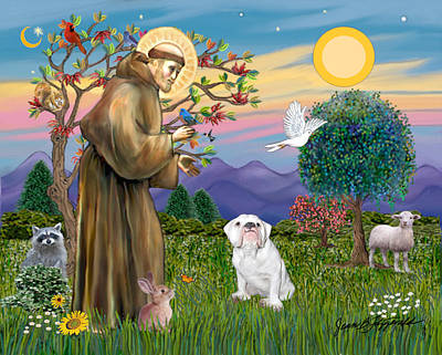 Poster featuring the digital art Saint Francis Blesses An English Bulldog by Jean Fitzgerald