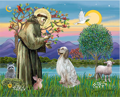 Poster featuring the digital art Saint Francis Blesses An English Setter by Jean B Fitzgerald