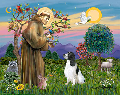 Poster featuring the digital art Saint Francis Blesses An English Springer Spaniel by Jean Fitzgerald
