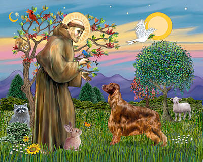 Poster featuring the digital art Saint Francis Blesses An Irish Setter by Jean Fitzgerald
