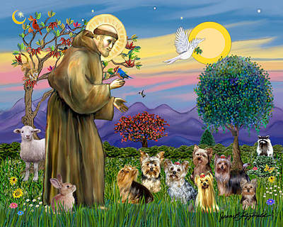 Poster featuring the digital art Saint Francis Blesses Seven Yorkies by Jean Fitzgerald