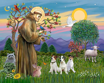 Poster featuring the digital art Saint Francis Blesses Three Jack Russell Terriers by Jean Fitzgerald