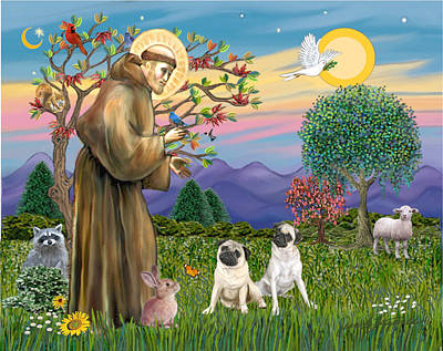 Poster featuring the digital art Saint Francis Blesses Two Fawn Pugs by Jean Fitzgerald