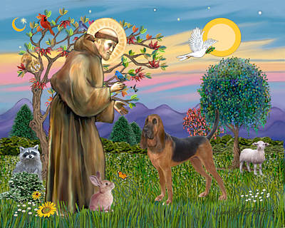 Poster featuring the digital art Saint Francis Blessing A Bloodhound by Jean Fitzgerald
