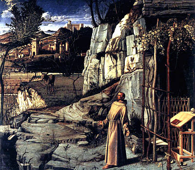 Poster featuring the painting Saint Francis In Ecstasy 1485 Giovanni Bellini by Karon Melillo DeVega