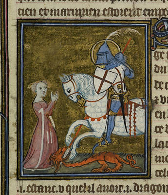 Saint George Riding Over The Dragon Poster by British Library