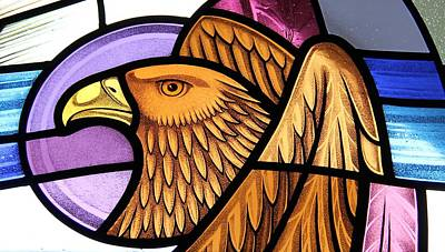 Poster featuring the glass art Saint John Eagle  by Gilroy Stained Glass