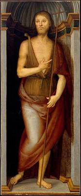 Saint John The Baptist Saint Lucy Poster by Perugino