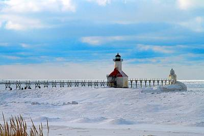 Saint Joseph Lighthouse Fresh Snow Poster by Dan Sproul