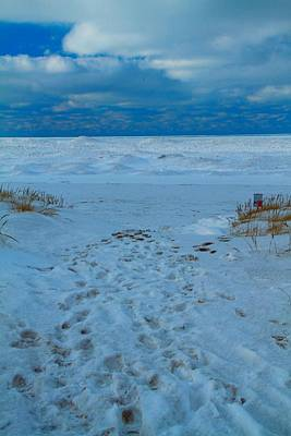 Saint Joseph Michigan Beach In Winter Poster