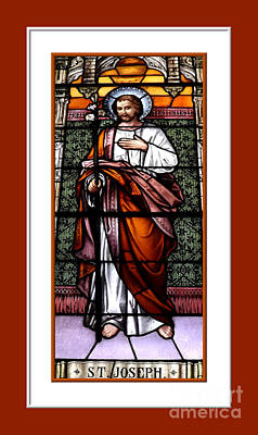 Poster featuring the photograph Saint Joseph  Stained Glass Window by Rose Santuci-Sofranko