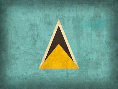 Saint Lucia Flag Vintage Distressed Finish Poster