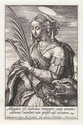 Saint Margaret Of Antioch, Hieronymus Wierix Poster by Hieronymus Wierix