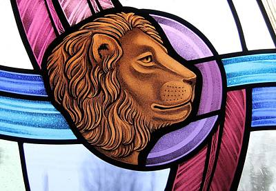Poster featuring the glass art Saint Mark Lion by Gilroy Stained Glass