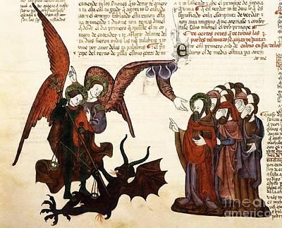 Saint Michael And Satan, 1430 Artwork Poster by Patrick Landmann