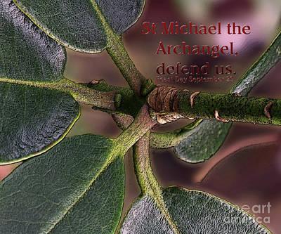 Poster featuring the photograph Saint Michael The Archangel by Jean OKeeffe Macro Abundance Art