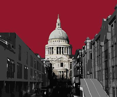 Saint Pauls - Blazing Red Poster by Big Fat Arts