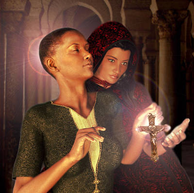 Poster featuring the painting Saint Perpetua And Felicity by Suzanne Silvir