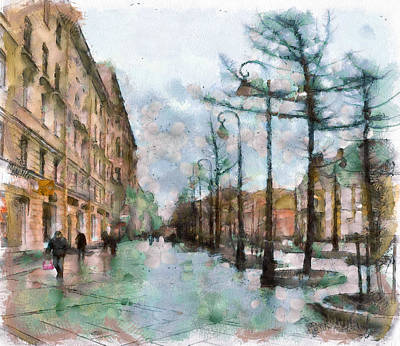 Saint Petersburg Rain Poster by Yury Malkov