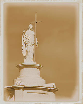 Poster featuring the photograph Saint With A Cross by Nadalyn Larsen