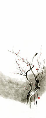Sakura Cherry Blossom Pink And Red Flowers Tree Watercolor Original Ink Painting Poster by Mariusz Szmerdt